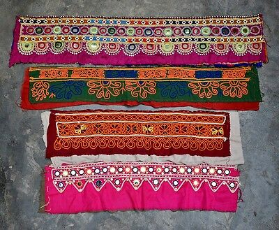 Vintage Huge Rabari Banjara Collectible Kuch Kuchi Heavy Embroidery Trims 4X Lot