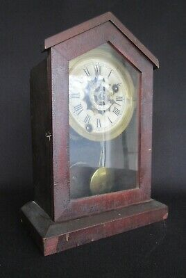 Working Antique Ansonia Cottage Alarm Clock (c.1870s) w/ Key (Wood Mantel Shelf)