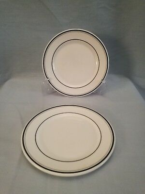 "Dudson fine china two side or tea plates 6.25"" black and grey rings very smart"
