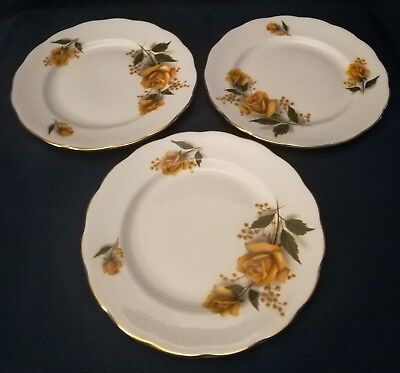 """Royal Vale Ridgway Potteries three side plates 6.25"""" yellow rose classic 1950s"""