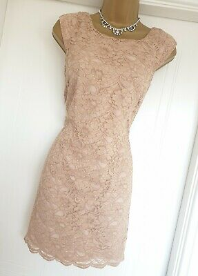 16336ee1 Oasis Nude Lace Party Occasion Races Cruise Wedding Prom Dress UK 8