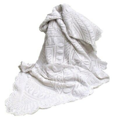 Antique Large French Hand Knitted Shabby Chic Cotton Blanket Bedspread Coverlet