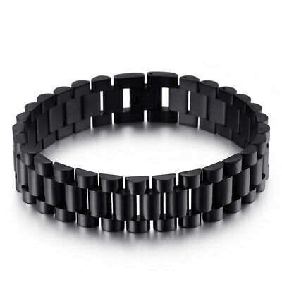 16mm 8.26'' Unixes mens black stainless steel Link Chain Bracelet Bangle jewelry