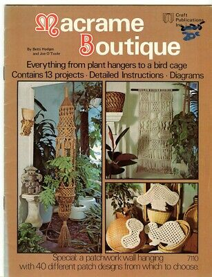 Macrame Boutique - 13 projects -  wallhanging with 40 different patches, Vintage