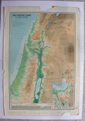 Wall Map Holy Country with Sinai Palestine Bibelkunde Schulmann 4118 64x92cm