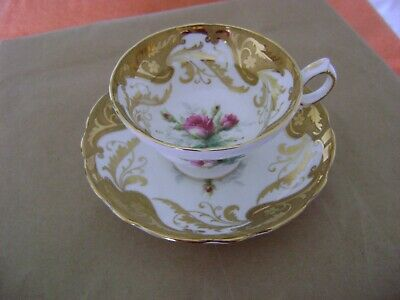 Vintage Hammersley Pink Moss Roses Center Fancy Gold Scrolls Tea Cup and Saucer