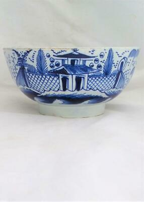 Pearlware Punch Bowl Blue and White Pagoda and Fence Pattern Antique circa 1790