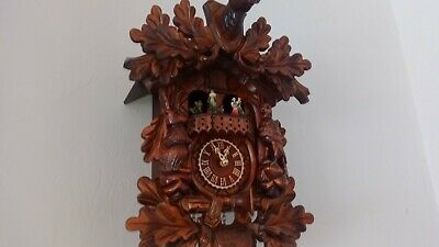 Wooden Cuckoo Clock From Germany. Plays 6 Songs. Dancers Animated Movement