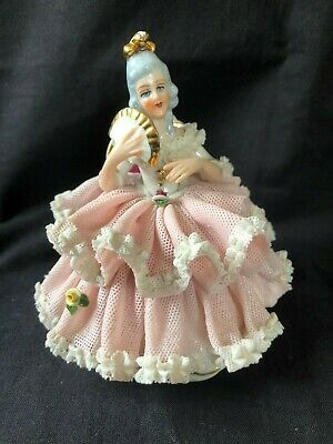 Antique german dresden lace porcelain figurine . Marked Bottom