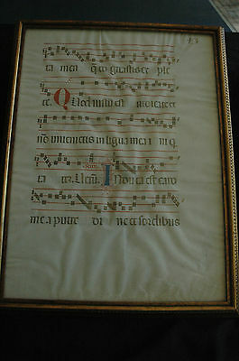 Large Gregorian Chant Antiphonal Leaf On Vellum Great Display 450 Years Old