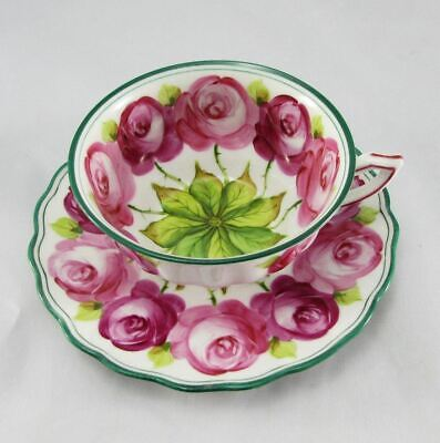 Antique Van Heusen Charles Co Continental Pink Cabbage Rose Tea Cup & Saucer (s)