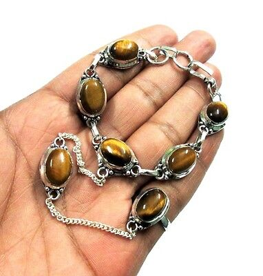 Fabulous! AAA Brown Tiger Eye Silver Plated Adjustable Bangle & Ring Jewelry