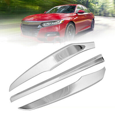 3x Chrome ABS Front Bumper Front Lip Cover Trim Set for Honda Accord 2018 2019