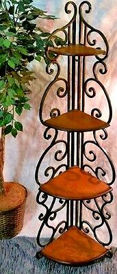 VINTAGE Wood & Iron ANTIQUE CURIO & PLANT CORNER SHELF STAND