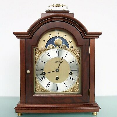 HERMLE AMS Mantel TOP Clock MOONPHASE WESTMINSTER Chime Vintage SERVICED Germany