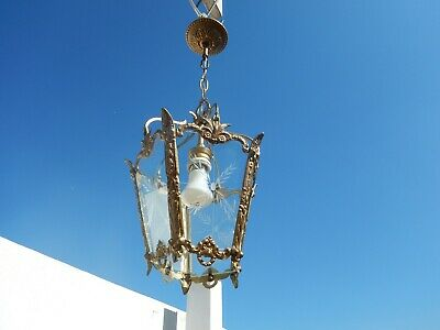 Vintage French brass lantern 5 panels glass engraved