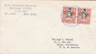 Jamaica 1957 SS Canadian Observer Montreal Paquebot Cover to Chino CA USA