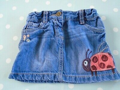 F&F baby girls denim skirt with ladybird embroidery 18-24 months