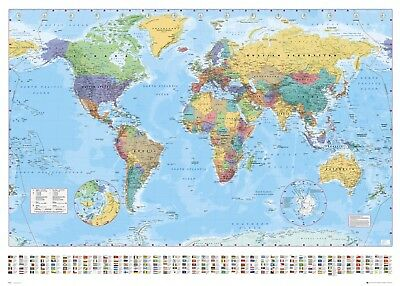 World Political Polar Caps Map - Professionally Encapsulated 36 x 24 Inch Poster