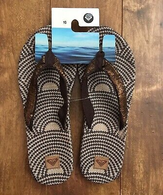 4ce19bd83374 Roxy Womens Flip Flops Sandals Size 10 New Buckle Summer Beach Sequin