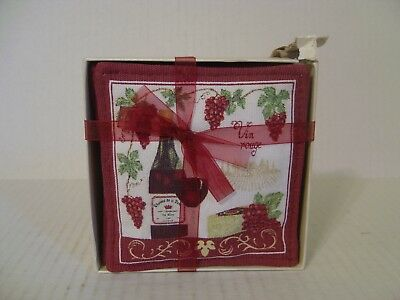 Alice's Cottage Set Of 4 Spiced Mug Mats Vin Rouge Wine And Cheese New In Box