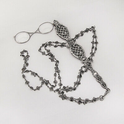 Long Lorgnette Glasses and Necklace Chain Sterling Silver 1890