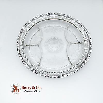Large Ornate Sectional Serving Tray Plate Cut Glass Sterling Silver Webster 1930
