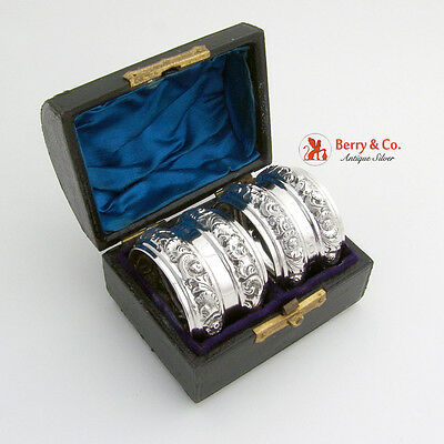 Victorian Pair of Repousse Napkin Rings Sterling Silver in a Box Birmingham 1880