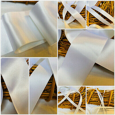 Berisfords Shade 1 White Double Satin Ribbon 3/7/10/15/25/35/50mm Widths