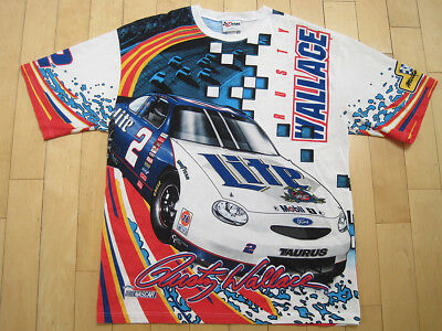 45bd5f3f ULTRA RARE!! 90s vtg RUSTY WALLACE nascar RACING all over print T SHIRT XL