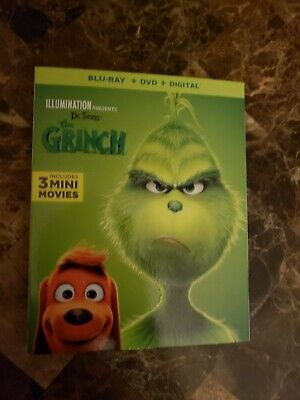 Illumination Dr Seuss The Grinch (Blu Ray, 2019, w/slipcover) (NO DVD / DIGITAL)