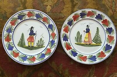 2 Henriot HB Quimper French Faience  Breton Pair of Dinner Plates, Man and Woman