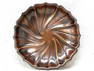 Coppercraft Guild Scalloped Edge Swirl Pattern Brushed Copper Tray