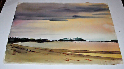 Theodore Ted Kautzky LARGE 1935 Original Landscape Watercolor Painting Fine Art!