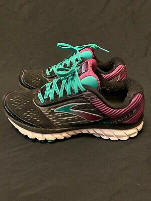 2514cb16f990 Brooks Ghost 9 Women s Athletic Running Shoes Black Teal Purple Size 8