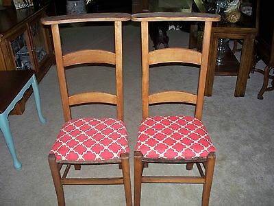 2 Antique Ladderback Country French Farmhouse Prayer Chairs RePurposed Seats$50