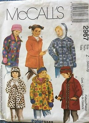 f1b63dfb481 McCall s Sewing Pattern 2967 Girl s Size M L Fleece Jacket Hat Mittens Uncut