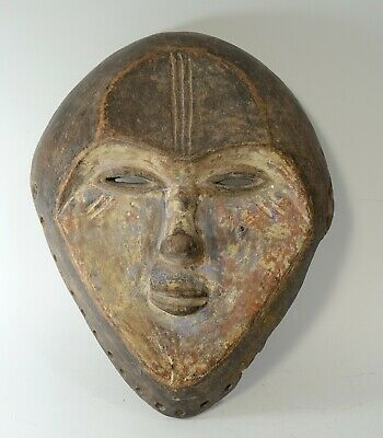 Rare Antique 19th Century Carved Wood Vuvi African Tribal Mask from Gabon
