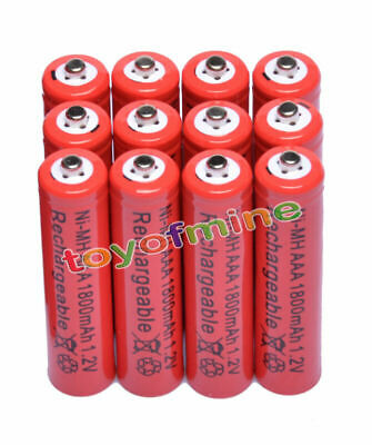 12 x AAA Batterie rechargeable 1800mAh 1.2V Ni-MH 3A Red Cell pour MP3 Jouets RC