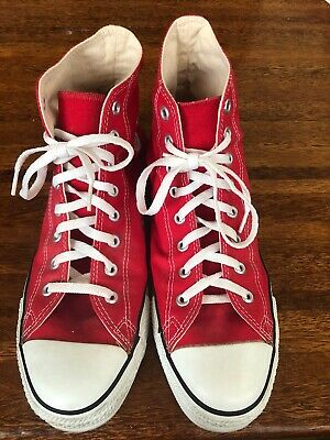 4528fe7d3cfa11 Vintage Converse All Star ChuckTaylor High Tops Red Made In The Usa Shoes  11 1