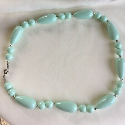Vintage Baby Blue Oval & Round Shaped Bead Necklace Silver Accent 18.5""