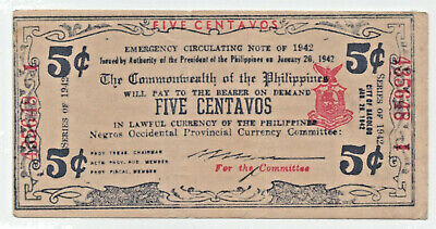 PHILIPPINES EMERGENCY CURRENCY NEGROS REGION  5 Centavos 1942 Old war time note