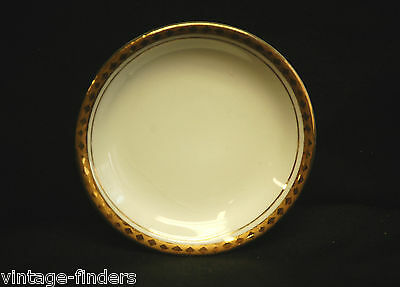 Old Vintage Porcelain Butter Pat White w Gold Diamond Trim Decorative Tableware