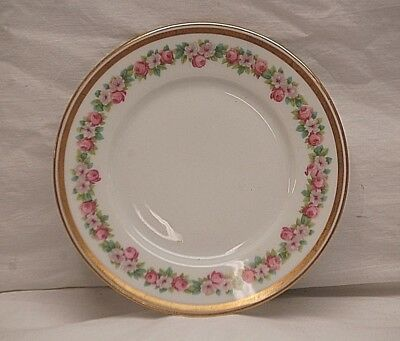 "Limoges France by Wm. Guerin 6-1/4"" Bread & Butter Plate Floral & Gold Band Trim"