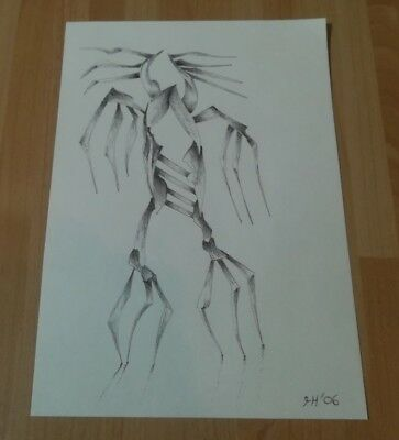 Original Pen Drawing Outsider Art A5 Size 'We Live' by Tim Hughes