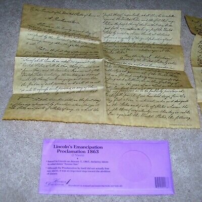 """""""lincoln's Emancipation Proclamation 1863"""" 2 Sheets Historical Documents Co New"""