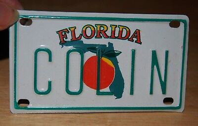 Florida Souvenirs Metal License Plate With Name, Colin On It Size 4 x 2 3/16 In