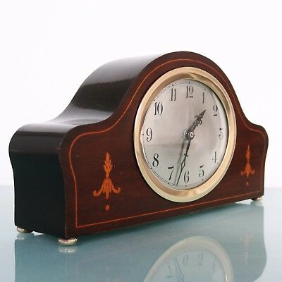Antique GERMAN JUNGHANS Mantel Clock INLAY SOLID WOOD HIGH GLOSS Multi Coloured
