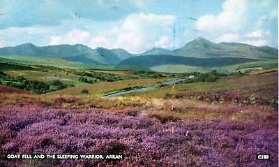Postcard of Goat Fell and Sleeping Warrior, Arran; m/c postmark BRODICK 1961