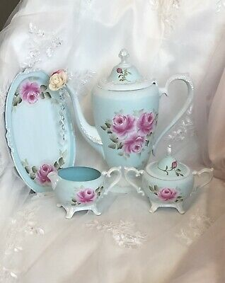 Vintage Turquoise Pink Roses Tea Pot 4 Pc Set Shabby Cottage Chic Hand Painted